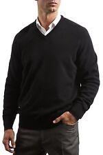 Mens Great & British Knitwear 100% Lambswool Plain V Neck Jumper