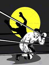 PAINTING ILLUSTRATION SPORT BOXING DOWN COUNT OUT REFEREE POSTER PRINT BMP11356