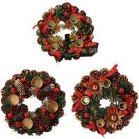 1Pcs Durable Pine Cone Garland Christmas Wreath Ornament Wall Door Hanging S2A2
