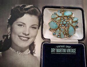 VINTAGE 1950s JEWELLERY AQUA BLUE ART GLASS RHINESTONE BROOCH LARGE PIN BRIDAL