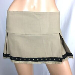 UNALUNA Women's Skirt Pleated Beige Stretch Size M