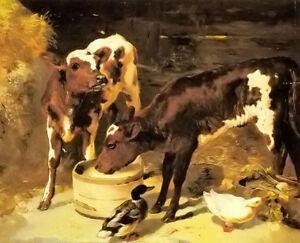 Dream-art Oil painting george w. horlor - animals calves feeding hand painted