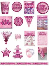 100 / 100th Birthday Pink Glitz Party Range - Party/Plates/Napkins/Banners/Cups