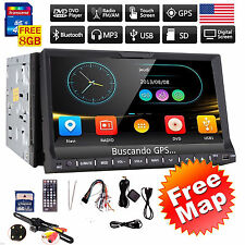 "7"" Double 2Din Car DVD Navi Stereo Radio Player Bluetooth HD Touch Screen MAP"