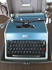 Vintage 1960's Blue Olivetti Underwood  With Case  Model 21 Typewriter Spain