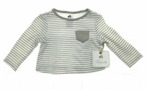 Just Born Infant Boys Brown and White Stripe Long Sleeve Shirt Size 0 - 3 Months