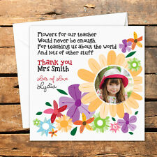 Personalised Handmade Thank You Photo Teacher Card Nursery Nurse Flowers Love