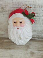 Fabulous Large Vintage Santa Face Ornament Christmas Hard Plastic