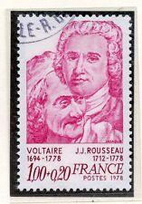 TIMBRE FRANCE OBLITERE N° 1990 VOLTAIRE ET ROUSSEAU / Photo non contractuelle