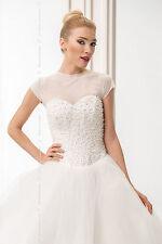 neue Bridal Ivory / weiß Tüll Bolero Schulterjacke Hochzeit Jacke S/M - L/XL