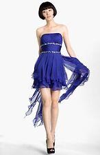 New La Femme Strapless Chiffon Dress Size 12 Indigo