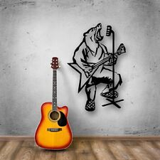 Wall Stickers Vinyl Decal Bear Music Guitar Microphone Animal (ig499)