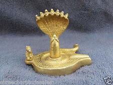 Vintage Solid Brass Tribal God Shiva Lingam Shivling 7 face Snake Statue Figure