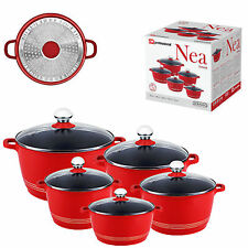SQ Pro Nea Induction Red 5pc NonStick Ceramic Aluminium Die-Cast Casserole Set