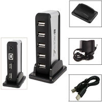 7 Ports USB 2.0 High Speed Hub Splitter AC Power Adapter for PC Laptop + EU Plug