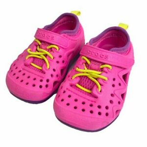 Crocs Infant Toddler Bungee Lace Sandals Size 6 Walking Beach Water Shoes Pink