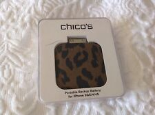 CHICO'S PORTABLE BATTERY BACKUP IPHONE 3GS/4/4S CHEETAH LEOPARD PRINT NIP