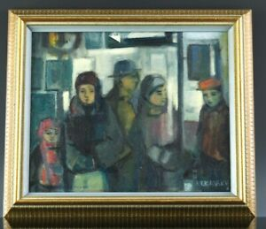 RITA BRIANSKY JEWISH CANADIAN LISTED ARTIST FIGURAL SCENIC OIL CANVAS PAINTING