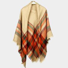 "Scarf Blanket Plaid Check Wrap Tartan Ruana Pashmina Soft Cozy Shawl 60x60"" BEG"