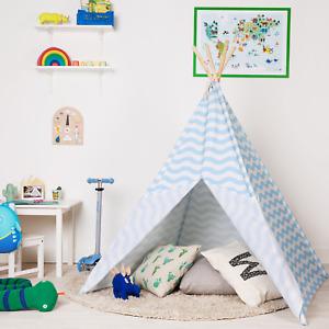 Large Kids Teepee Tent Indoor Outdoor Wigwam Girls Boys Childrens boppi - blue