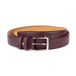 Mens Burgundy Belt Oxblood Genuine Leather Belts For Men Dress Italian Calfskin