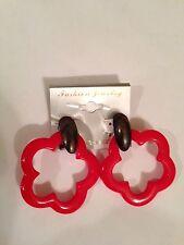 Red Flower Shaped Earrings Hanging Summer Dangle Drop Fashion Jewelry