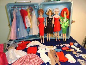 VINTAGE BARBIE FASHION QUEENS HARD PLASTIC CASE W/ DOLLS CLOTHES SHOES ACCES.