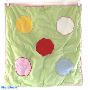 Pottery Barn Kids Green Euro Pillow Sham Quilted Corduroy Hexagons Pink Trim