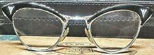 Vintage Eyeglasses Zebra Stripe Cat-Eyeglasses White Gold Fille Ao + Case Euc