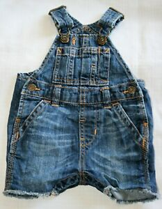 Baby Gap boys denim dungaree shorts - size 3 - 6 months