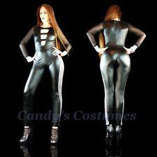 HOT Black LEATHER Look CATSUIT Leopard STRIPE Mistress 80's ROCK Costume 8 10 12