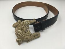 BARRY KIESELSTEIN CORD Belt W/ Bronze Alligator Buckle; Genuine Lizard Blk Strap