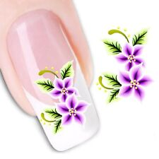 Nail Art Sticker Water Decals Transfer Stickers Purple Flowers  (DX1160)