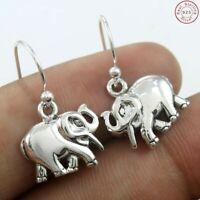 """Elephant Design Plain Silver 925 Sterling Silver Earrings Jewelry S 3/4"""""""