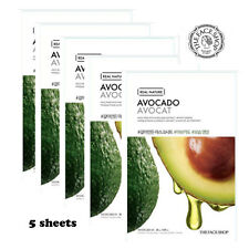 THE FACE SHOP Avocado Ground Real Nature Mask Pack 5 sheets Nourishing K-Beauty