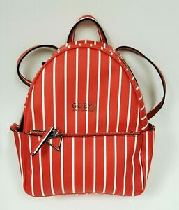 NEW GUESS EVANS RED+WHITE STRIPED PVC SILVER TOP ZIP,BACKPACK,SHOULDER BAG