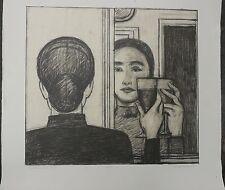 Lithographie Originale WILL BARNET (1911-2012) Femme Miroir Verre Signé Print