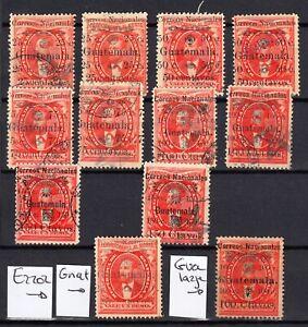GUATEMALA  1886 FULL SETS + 2 ERRORS