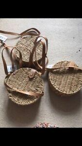 Papaya Rattan Round Circular Handbag Bag Bridesmaid Rustic Boho