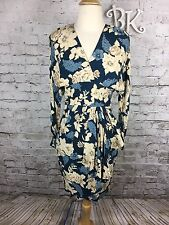 80's Vtg Phoebe Petites Floral Print Faux Wrap Side Ruffle Career Party Dress 4