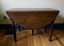 5 LEG FARM TABLE~1840's~ SOLID WALNUT~ drop leaf ~4 LEAVES~ALL ORIGINAL!