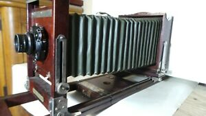 RARE Antique Gundlach Mfg Co Wood Bellows Camera DRESDEN COMPUR Lens + 4x5 Film