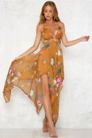 NWT Angel Biba Mustard Floral Strappy Chiffon Maxi Cocktail Dress 10 - LAST ONE!
