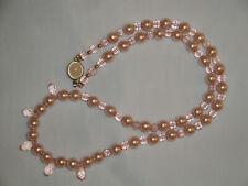 Collana vintage in perle di conchiglia , cristalli e susta in quarzo tutti rosa