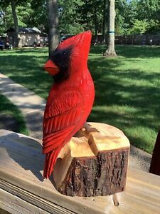 CHAINSAW CARVED RED CARDINAL