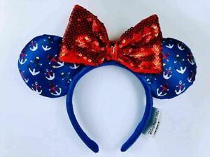 Disney Cruise Line Anchor Ears Blue Red Headband Mickey Minnie New