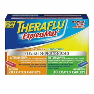 Theraflu ExpressMax Combo Caplets for Daytime and Nighttime Severe Cold and