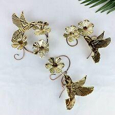 3 Vintage Metal Flowers & Hummingbirds Wall Decor Brass/Gold rare art MCM Boho
