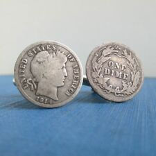 1914 Barber Dime Cuff Links - .900 Silver Repurposed Vintage Coins Front & Back