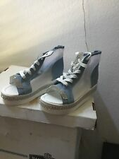 Womens Denim High Top Sandals Open Toe Lace Up Shoes Casual Size 39.